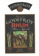 Etiquette   RHUM GODEFROY, Blanc Agricole - GUADELOUPE - Produit Par Belle Isle  Marie Galante -- - Rhum