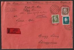 1930 Dt.Reich - 80 Rm WERTBRIEF FREIBURG Nach BRUGG, SCHWEIZ - Portokontroll Stpl - Mi. 415,417,420 - Briefe U. Dokumente