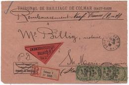 Devant De Lettre Recommandée Taxée HAUT-RHIN TAXE BANDEROLE DUVAL 15c Bande De Quatre Papier GC  1922 Cf. Description - Segnatasse