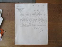 SOCIETE ANONYME DES ARDOISIERES DE SAINT-LUC (BASSIN DE FUMAY) COURRIER DU 8 MARS 1898 - France