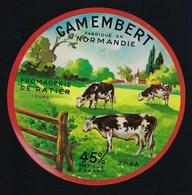 "Etiquette Fromage Camembert Normandie 45%mg  Fromagerie De Ratier Eure 27 AA "" Vaches"" Variante En Vente - Cheese"