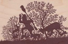 Carte En BOIS 9x14 . HOLZ FÜR DEN WALD Ombres Chinoises Chasseur Chassé Par Animaux De Forêt .Orkan LOTHAR 26/12/1999 - Postcards