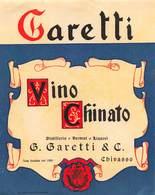 """09396 """"(TO) CHIVASSO - G. GARETTI & C. - DISTILLERIA - VINO CHINATO"""" ETICHETTA 1950 - Altri"""