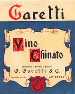 "09396 ""(TO) CHIVASSO - G. GARETTI & C. - DISTILLERIA - VINO CHINATO"" ETICHETTA 1950 - Etichette"