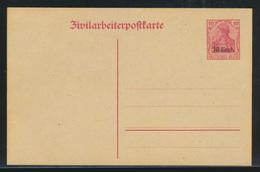 Besetzung 1914-18 Ganzsache Etappengebiet West Zivilarbeiterpostkarte P 6 Kat.14 - Occupation 1914-18
