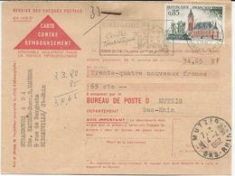 CARTE CONTRE REMBOURSEMENT 1962 AVEC  TIMBRE  A 85 CT   CALAIS OBLITERE DE RIBEAUVILLE - Alsace Lorraine