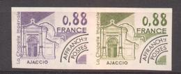 Paire Essai De Couleur Préo 0,88 F Chapelle D'Ajaccio De 1981 YT 170 Sans Trace Charnière RARE - Francia