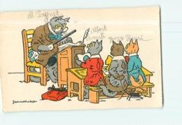 Chats Humanisés à L' école - Maître Et Elèves - Illustrateur Jean Matet - 2 Scans - Katten
