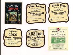 6 Etiquettes  Mignonnettes 5 Cl RHUM Godefroy, Bielle  Et Bellevue - GUADELOUPE - Marie Galante - - Rhum