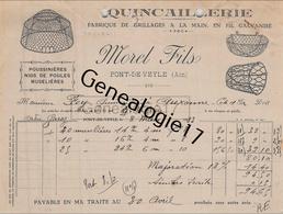 01 1489 PONT DE VEYLE AIN 1933 Quincaillerie MOREL FILS Fabrique De Grillage POUSSINIERE MUSELIERE A FEY - France