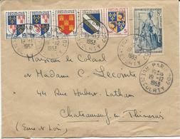 LETTRE 1953 AVEC 6 TIMBRES  TYPES BLASONS / CELIMENE - Storia Postale