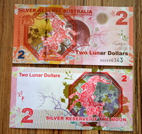 2015 SILVER RESERVE AUSTRALIA 2 LUNAR DOLLARS UNC BANKNOTE CURRENCY> GOAT - Australia