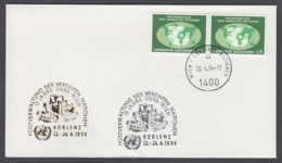 UNO Wien-UN Vienna - Beleg 1994 - 2 X MiNr. 9 - Gold-Sonderstempel - Koblenz 94 (15 J. UNPA Wien) - UNO