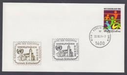 UNO Wien-UN Vienna - Beleg 1991 - MiNr. 46 - Gold-Sonderstempel - Int. Briefmarkenmesse, Sindelfingen - UNO