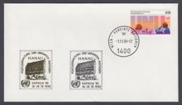 UNO Wien-UN Vienna - Beleg 1990 - MiNr. 48 - Gold-Sonderstempel - Haphila 90, Hanau - UNO