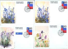 Carte Drapeau Cachet Fdc Illustré Fleur - Stamped Stationery