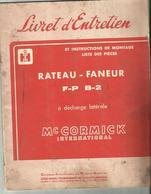 Livret D Entretien Rateau Faneur F-P  B- 2 Mc CORMICK  32 PAGES - Tracteurs
