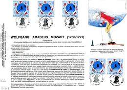 France -1991- Souvenir Philatélique-tirage Limité -Mozart-le Train Mozart A Fait 17 étapes, 17 Oblitérations - Documentos Del Correo