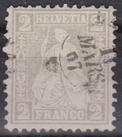 SUISSE 1862 :  Helvetie Assise,  2 Rp Gris,  (ZNr 28), Oblitéré CAD Du 11 Mars 1867 - Used Stamps