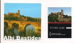 Etiquette Décollée Côtes Du Tarn - Cuvée Albi 2014 Et Sous Verre Albi & Les Bastides - Cathédrale Ste Cécile - - Rotwein