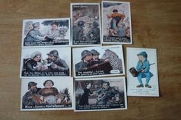Lot De 8 Cartes Postales Anciennes Guerre 1914 1918 Humour De Poilus - War 1914-18