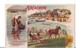 96  RE CPA  ARCACHON  AMOUROUX FRËRES  L'HIRONDELLE - Publicité