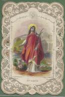 """Image Religieuse XIXème Canivet Avec Dentelle - """"Sainte Agnès"""" - Religion & Esotérisme"""