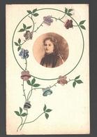 Fantaisie / Fantasy - Young Woman / Jonge Vrouw - Handgemaakt, Versierd Met Bloemen Uit Belgische Postzegels - Vrouwen