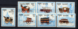 CAMBODGE 1989, Monuments De Paris, DILIGENCES Et MALLES-POSTE, 7 Valeurs, Neufs / Mint. R930 - Camboya