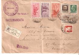 """L. RECOMMANDEE """"Chambre De Commerce Belge - MILAN Du 12/8/1931 Vers Bruxelles - Oblitérés"""