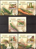 A{103} Comoros 2009 Lizards 5 S/S Deluxe MNH** - Comores (1975-...)