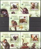 A{096} Comoros 2009 Monkeys Lemur's 5 S/S Deluxe MNH** - Komoren (1975-...)