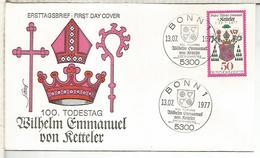 ALEMANIA FDC 1977 VON KETTELER TEOLOGIA RELIGION - Theologen