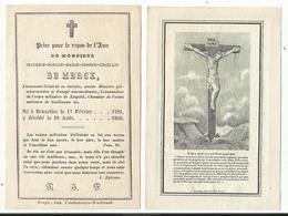DP - Mortuaire Maurice, Ignace, Marie, Joseph, Ghislain DE MERCX - Lieutenant-Général E.r. Bruxelles, 1781-1856 - Religion &  Esoterik