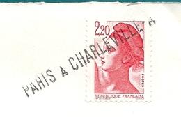 Griffe Linéaire Sur Timbre D'un Ambulant : PARIS A CHARLEVILLE-A - Postmark Collection (Covers)