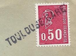 Griffe Linéaire Sur Timbre D'une Gare : TOULOUSE GARE - Postmark Collection (Covers)