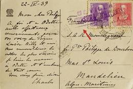 1939 Abril, Postal De Villamanrique (Sevilla) A Francia - 1931-Aujourd'hui: II. République - ....Juan Carlos I
