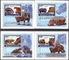 A{085} Togo 2010 Hippopotamus 4 S/S Deluxe MNH** - Togo (1960-...)
