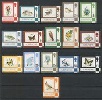 Gibraltar 1977 N° 348/363 ** Neufs MNH Superbes C 40 € Faune Oiseaux Birds Poissons Papillons Fleurs Série Courante - Gibraltar