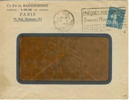 25C SEMEUSE CAMEE ROULETTE AVEC CINTRAGE DE COUPE LETTRE ENTETE Cie Fse DE RADIOPHONIE PARIS 13/10/24 - Marcophilie (Lettres)