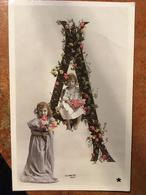 """CPA, Fantaisie, Lettre A , Deux Fillets, Fleurs, Stebbing Photo, éd Marque """"Etoile"""",écrite En 1903 Ou 1907, Timbre - Otros"""