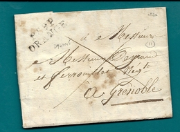 Vaucluse - Orange Pour Grenoble - LAC De 1820 En Port Payé - Marcophilie (Lettres)