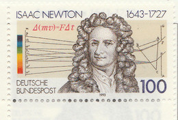 PIA -GER-  1993  : 350° Anniversario Della Nascita Di Isaac Newton - Matematico, Fisico Ed Astronomo -  (Yv 1478) - Astronomy
