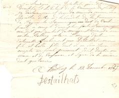 Vieux Papier Des Landes, Poudenx, 1845, Jean Destailhats Donne Quittance à Jeanne Lagrillou De Beyries - 1900 – 1949