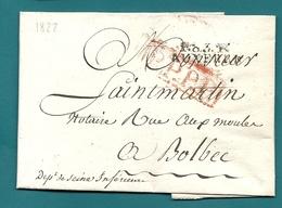 Yonne - Auxerre Pour La Rue Aux Moules à Bolbec. - LAC De 1822 En Port Payé. Theme Vins: Recolte En Petite Quantité - Marcofilie (Brieven)