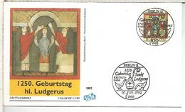 ALEMANIA FDC 1992 1250 ANIVERSARIO LUDGERUS RELIGION - Cristianismo