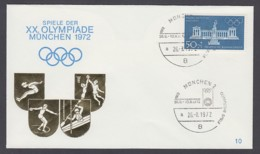 Germany-BRD - Sonderkuvert-Beleg - XX. Olympiade München 1972 - MiNr. 627 - SSt. München - Summer 1972: Munich