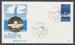 Germany-BRD - Sonderkuvert-Beleg - Schwimmen - Olympiade 72 - MiNr. 722 - SSt. München - Summer 1972: Munich