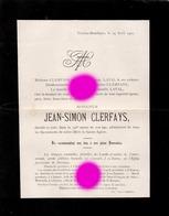 Trixhes BOMBAYE 1901 Mr Jean Simon CLERFAYS LAVAL  Généalogie / Imprimé Chez Thunus à Visé - Décès