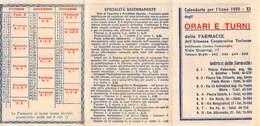 """09426 """"TORINO - CALENDARIO 1933 - ORARI E TURNI DELLE FARMACIE DELL'ALLEANZA COOPERATIVA TORINESE"""" - Calendari"""